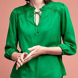 🆕Anthropologie✨ Emerald Green Peasant Blouse